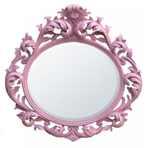 Baroque Bright Pink Bevelled Oval Mirror
